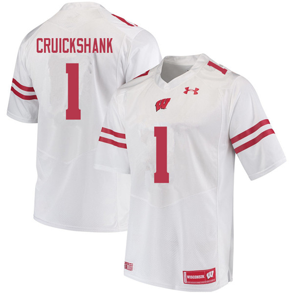 Men #1 Aron Cruickshank Wisconsin Badgers College Football Jerseys Sale-White