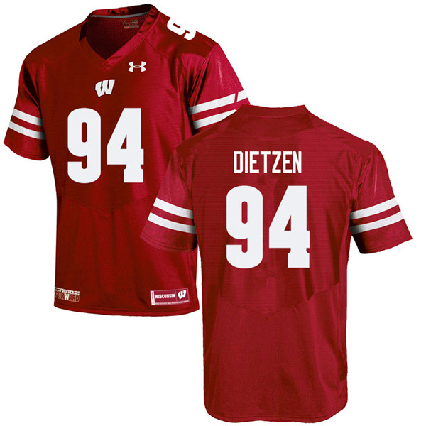 Men #94 Boyd Dietzen Wisconsin Badgers College Football Jerseys Sale-Red