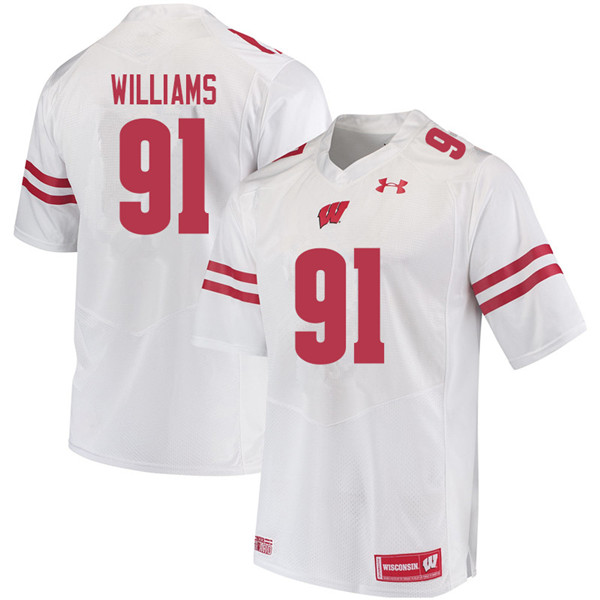 Men #91 Bryson Williams Wisconsin Badgers College Football Jerseys Sale-White