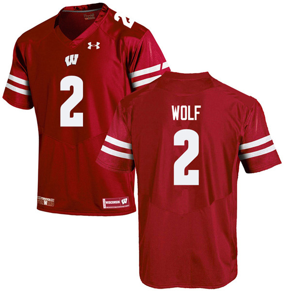Men #2 Chase Wolf Wisconsin Badgers College Football Jerseys Sale-Red