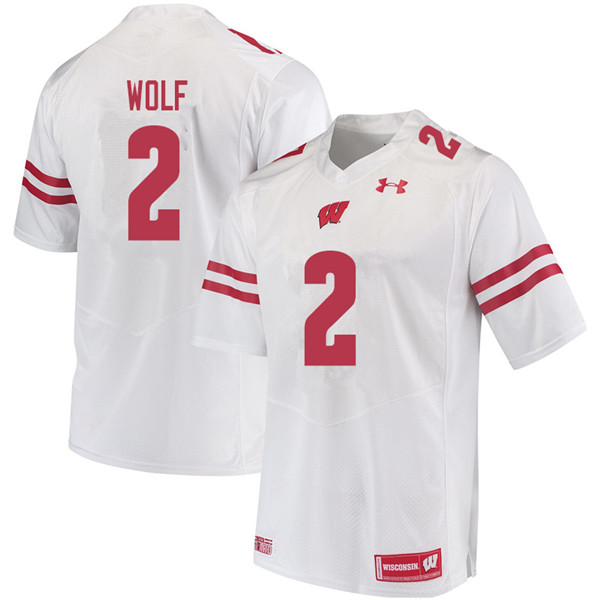 Men #2 Chase Wolf Wisconsin Badgers College Football Jerseys Sale-White