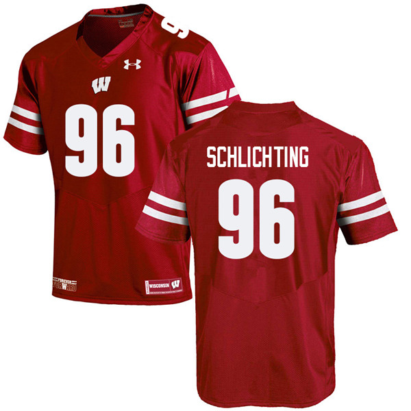 Men #96 Conor Schlichting Wisconsin Badgers College Football Jerseys Sale-Red