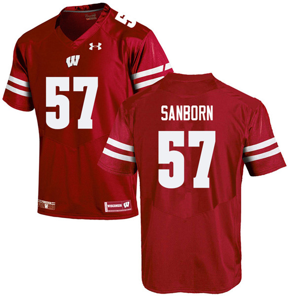 Men #57 Jack Sanborn Wisconsin Badgers College Football Jerseys Sale-Red