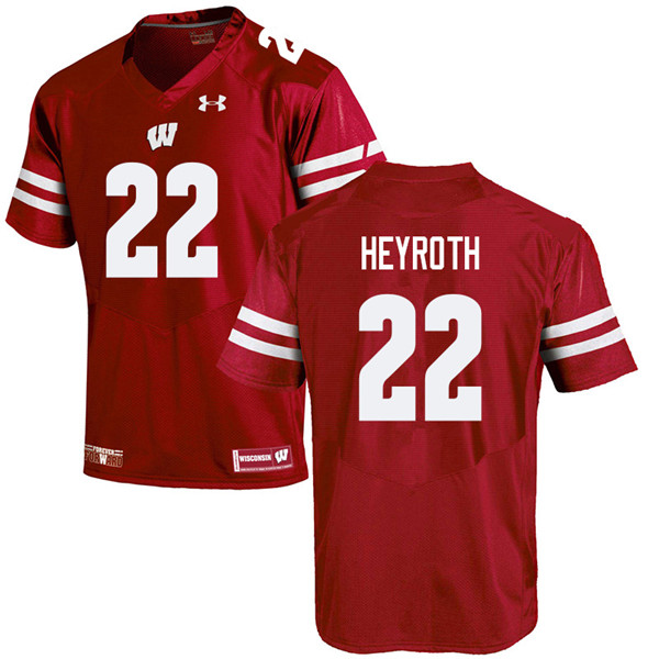 Men #22 Jacob Heyroth Wisconsin Badgers College Football Jerseys Sale-Red