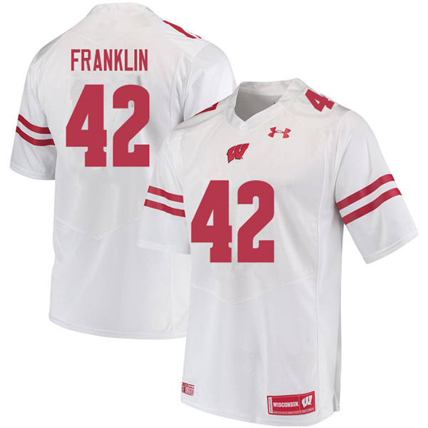 Men #42 Jaylan Franklin Wisconsin Badgers College Football Jerseys Sale-White