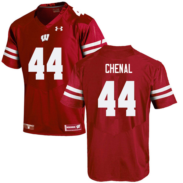 Men #44 John Chenal Wisconsin Badgers College Football Jerseys Sale-Red