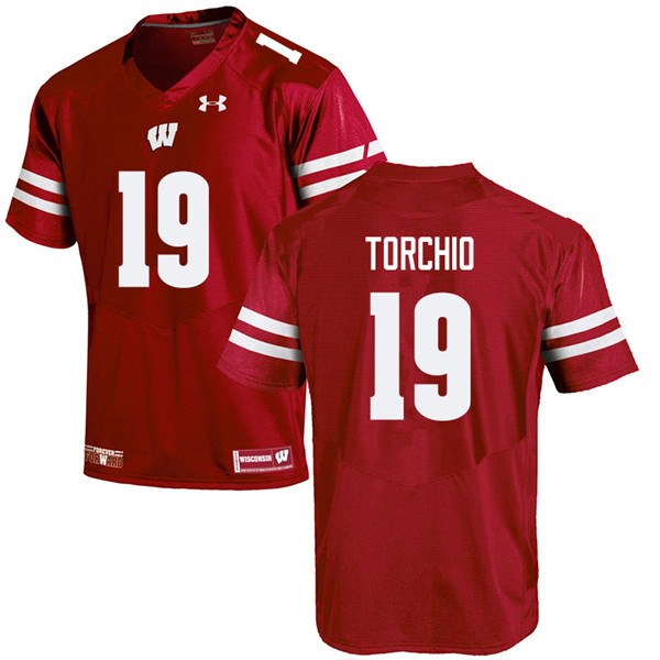 Men #19 John Torchio Wisconsin Badgers College Football Jerseys Sale-Red