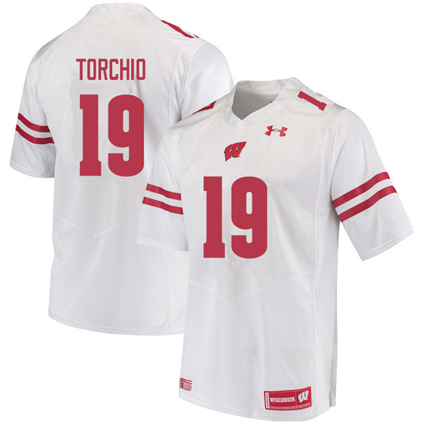 Men #19 John Torchio Wisconsin Badgers College Football Jerseys Sale-White