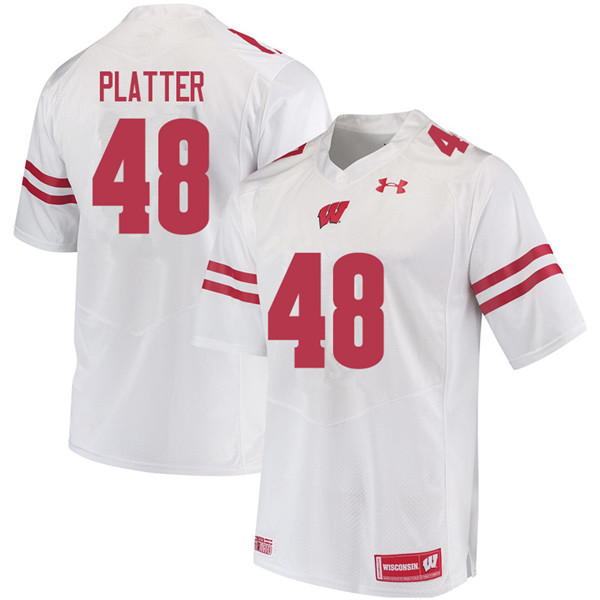Men #48 Mason Platter Wisconsin Badgers College Football Jerseys Sale-White