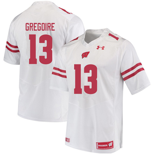 Men #13 Mike Gregoire Wisconsin Badgers College Football Jerseys Sale-White