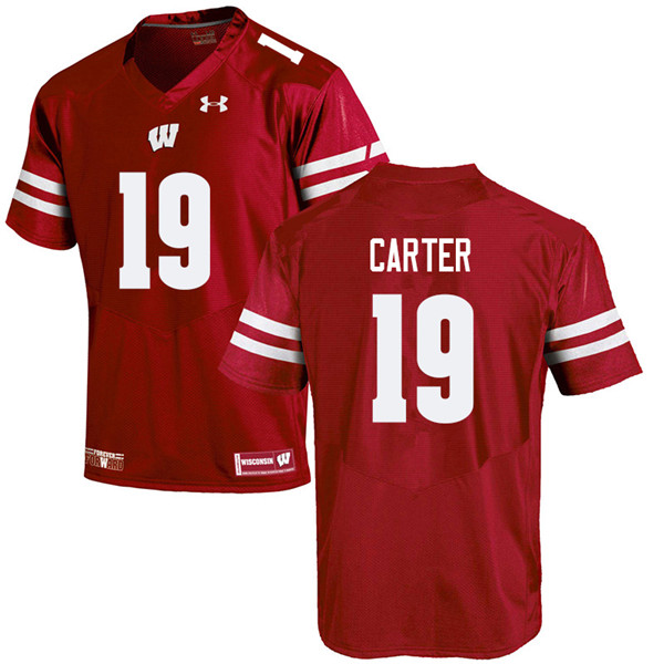 Men #19 Nate Carter Wisconsin Badgers College Football Jerseys Sale-Red