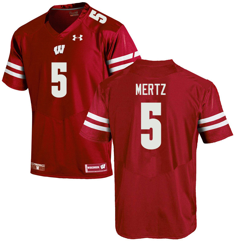 Men #5 Graham Mertz Wisconsin Badgers College Football Jerseys Sale-Red