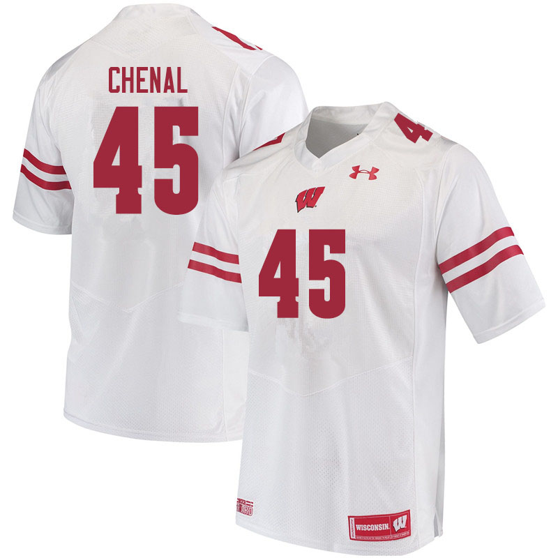 Men #45 Leo Chenal Wisconsin Badgers College Football Jerseys Sale-White