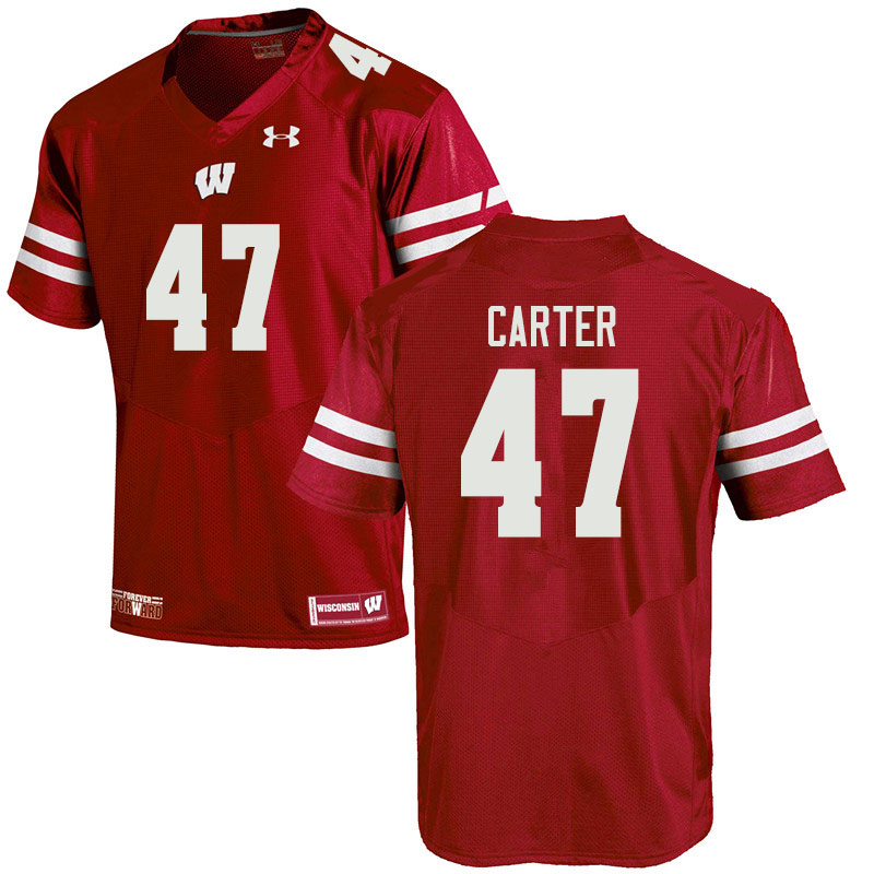 Men #47 Nate Carter Wisconsin Badgers College Football Jerseys Sale-Red