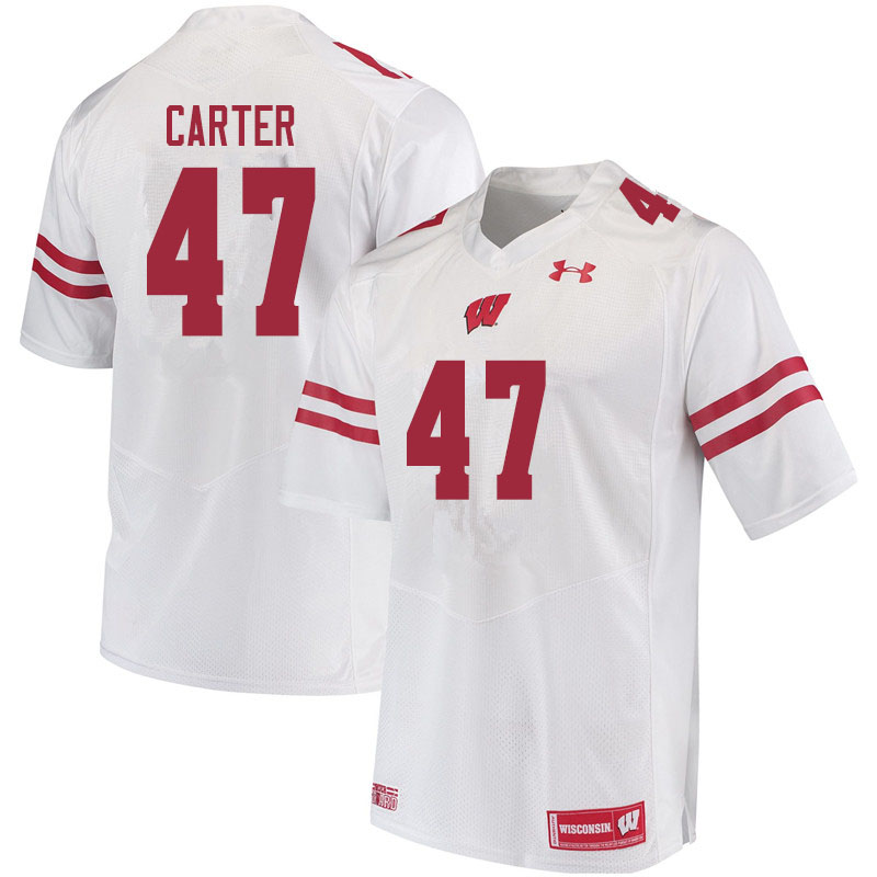Men #47 Nate Carter Wisconsin Badgers College Football Jerseys Sale-White