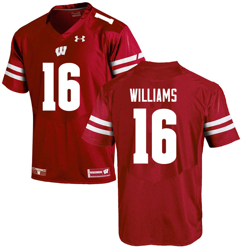 Men #16 Amaun Williams Wisconsin Badgers College Football Jerseys Sale-Red