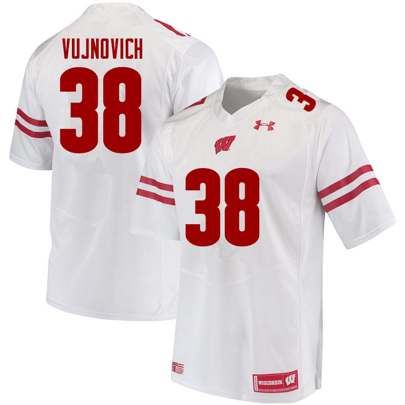 Men #38 Andy Vujnovich Wisconsin Badgers College Football Jerseys Sale-White