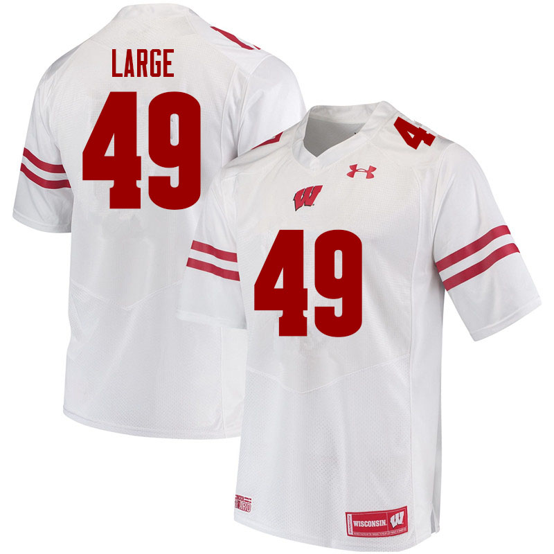 Men #49 Cam Large Wisconsin Badgers College Football Jerseys Sale-White