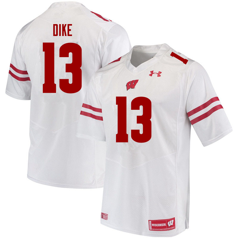 Men #13 Chimere Dike Wisconsin Badgers College Football Jerseys Sale-White