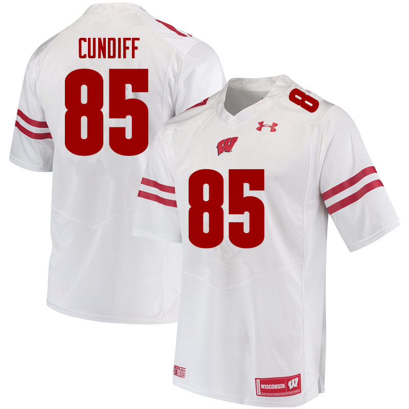 Men #85 Clay Cundiff Wisconsin Badgers College Football Jerseys Sale-White
