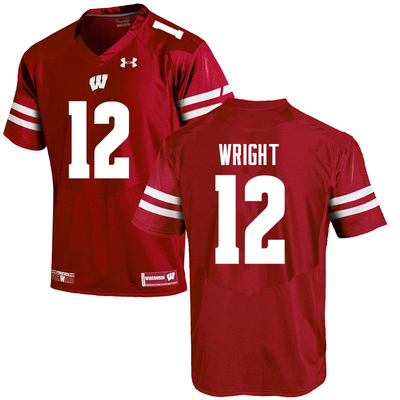 Men #12 Daniel Wright Wisconsin Badgers College Football Jerseys Sale-Red