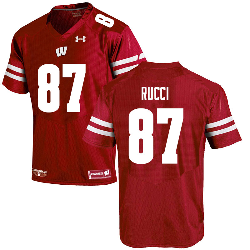 Men #87 Hayden Rucci Wisconsin Badgers College Football Jerseys Sale-Red