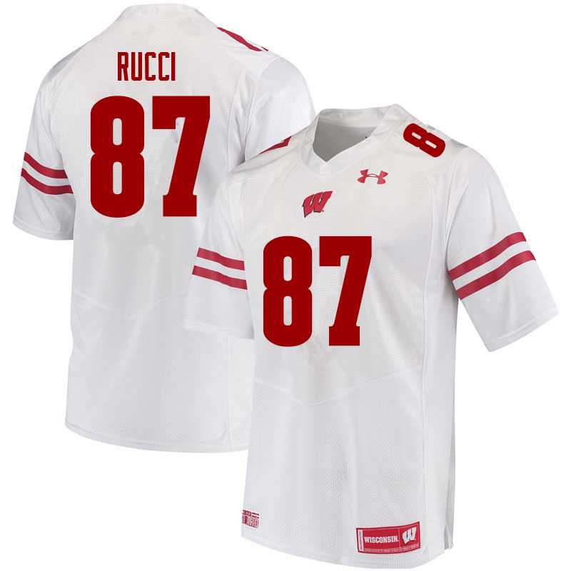 Men #87 Hayden Rucci Wisconsin Badgers College Football Jerseys Sale-White