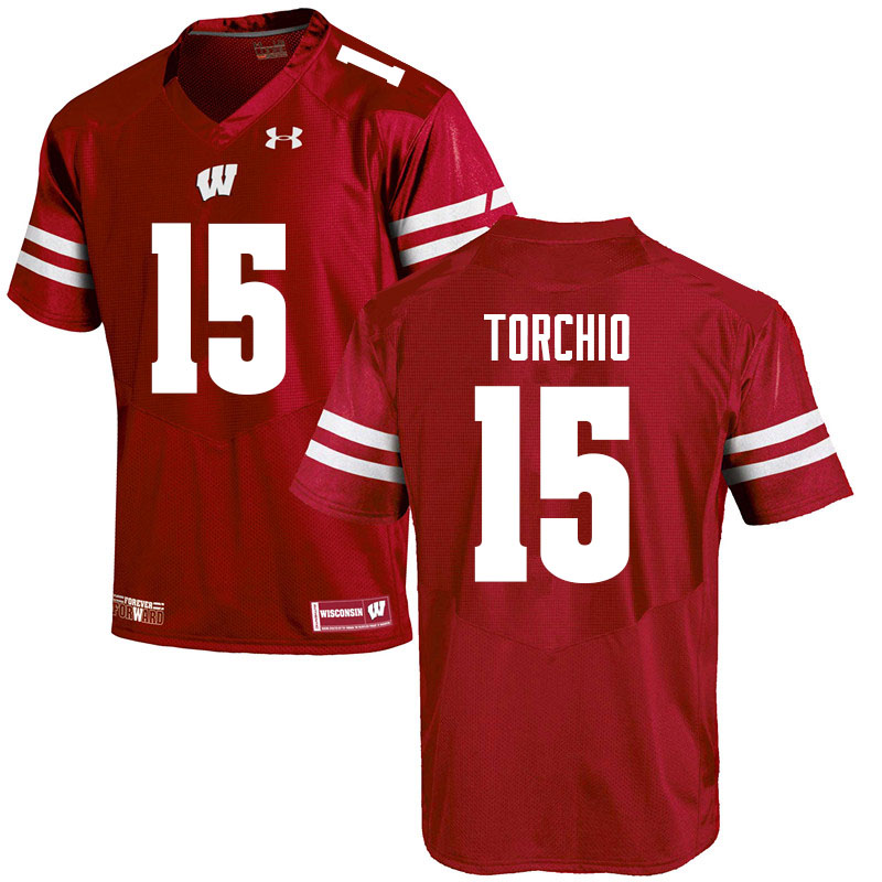 Men #15 John Torchio Wisconsin Badgers College Football Jerseys Sale-Red