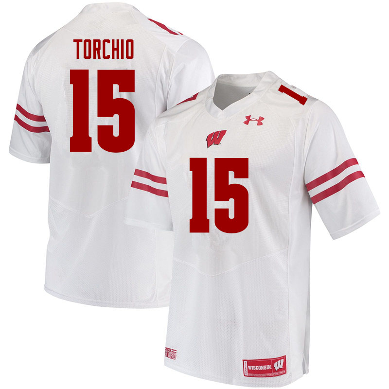 Men #15 John Torchio Wisconsin Badgers College Football Jerseys Sale-White