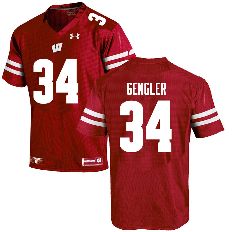 Men #34 Ross Gengler Wisconsin Badgers College Football Jerseys Sale-Red