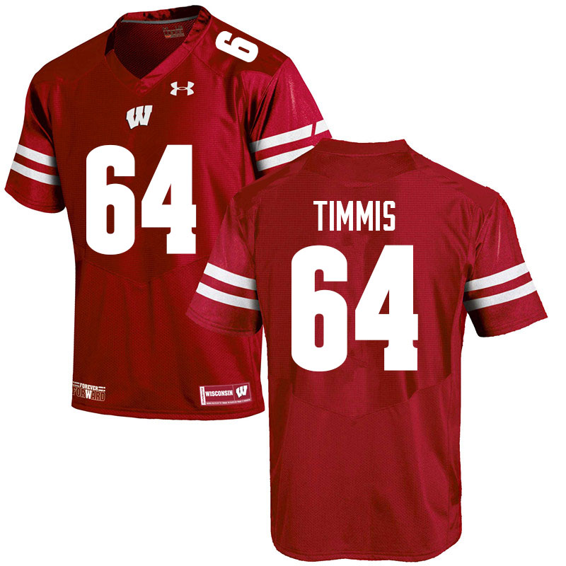 Men #64 Sean Timmis Wisconsin Badgers College Football Jerseys Sale-Red