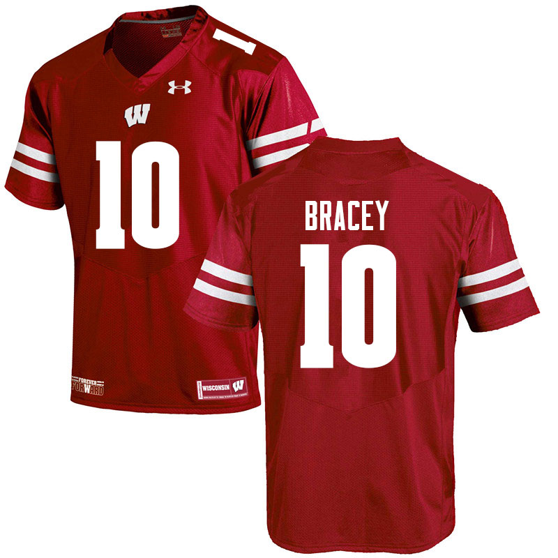 Men #10 Stephan Bracey Wisconsin Badgers College Football Jerseys Sale-Red