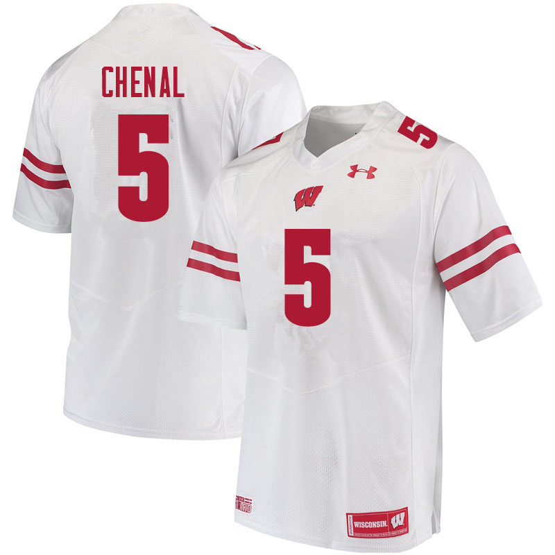 Men #5 Leo Chenal Wisconsin Badgers College Football Jerseys Sale-White
