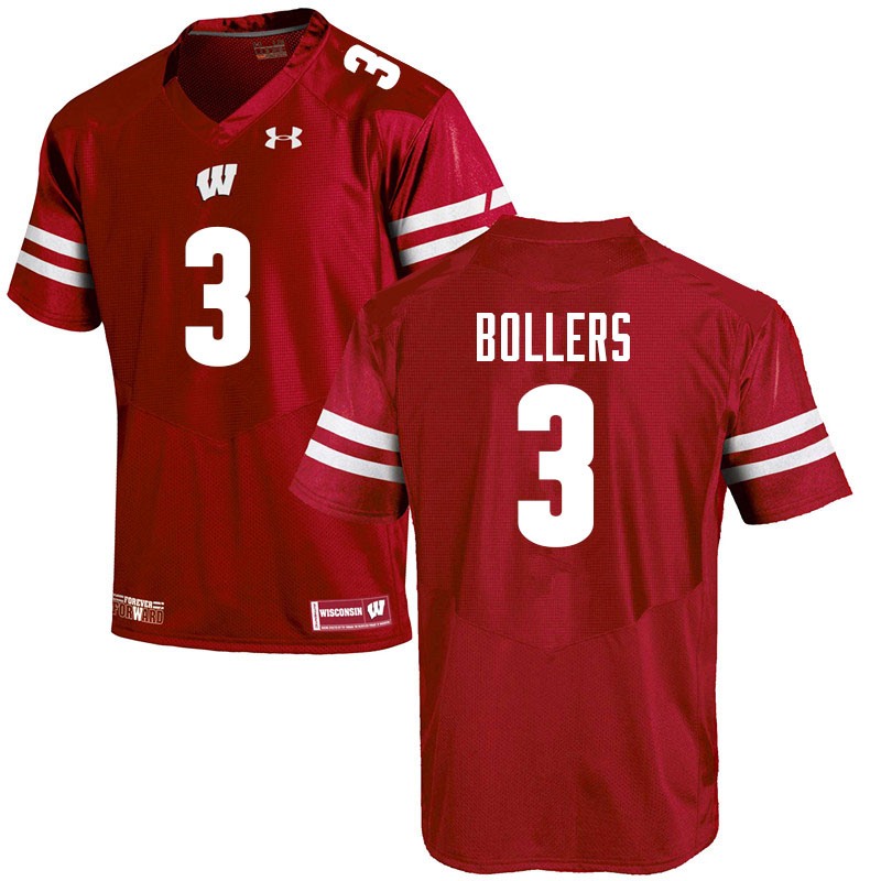 Men #3 T.J. Bollers Wisconsin Badgers College Football Jerseys Sale-Red