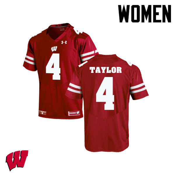 Women Wisconsin Badgers #84 A.J. Taylor College Football Jerseys-Red