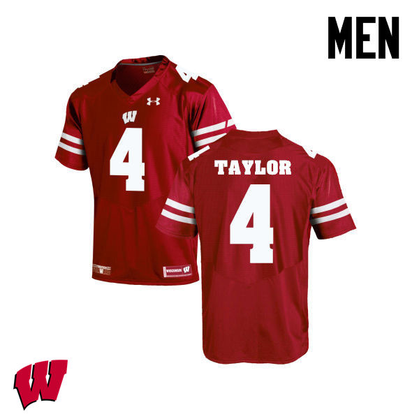Men Wisconsin Badgers #84 A.J. Taylor College Football Jerseys-Red