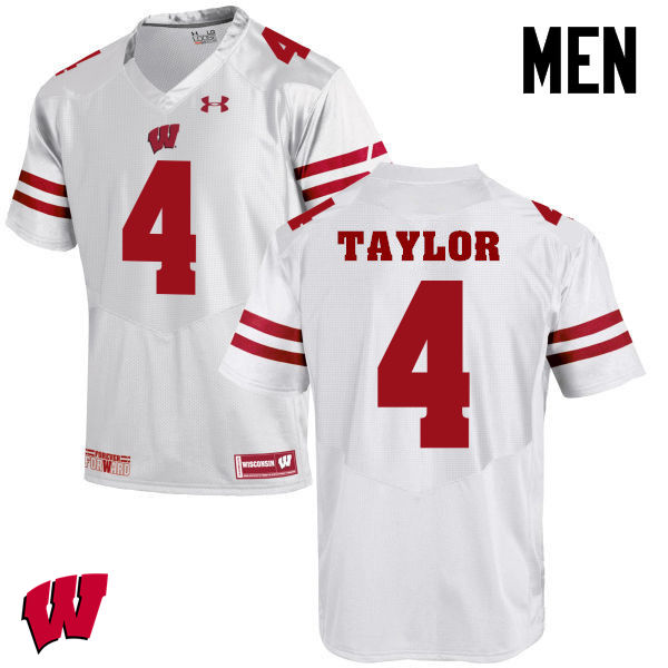Men Wisconsin Badgers #84 A.J. Taylor College Football Jerseys-White
