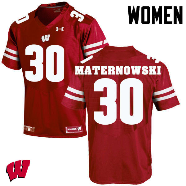 Women Wisconsin Badgers #30 Aaron Maternowski College Football Jerseys-Red