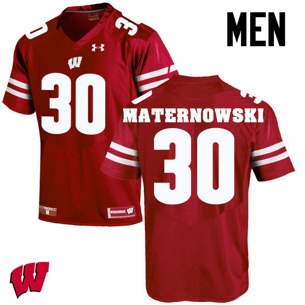 Men Wisconsin Badgers #30 Aaron Maternowski College Football Jerseys-Red