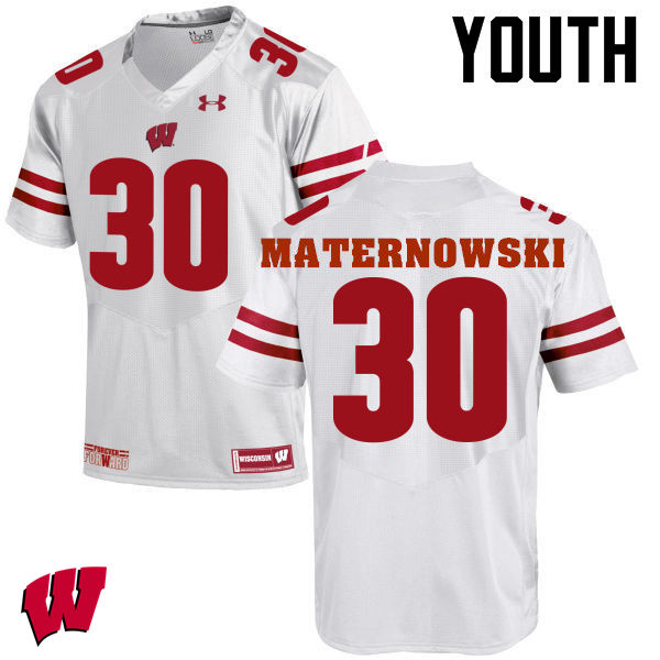 Youth Wisconsin Badgers #30 Aaron Maternowski College Football Jerseys-White
