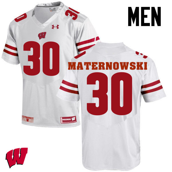 Men Wisconsin Badgers #30 Aaron Maternowski College Football Jerseys-White