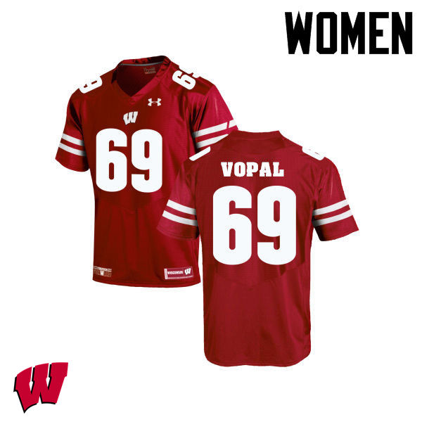 Women Winsconsin Badgers #69 Aaron Vopal College Football Jerseys-Red