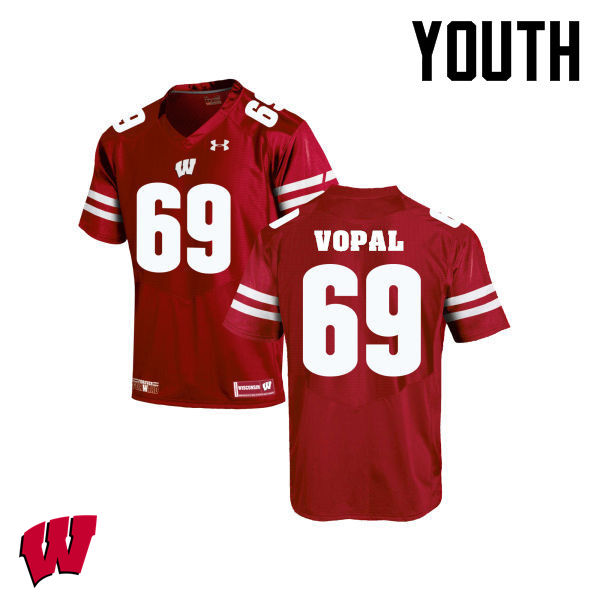 Youth Winsconsin Badgers #69 Aaron Vopal College Football Jerseys-Red