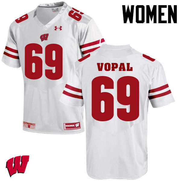 Women Winsconsin Badgers #69 Aaron Vopal College Football Jerseys-White