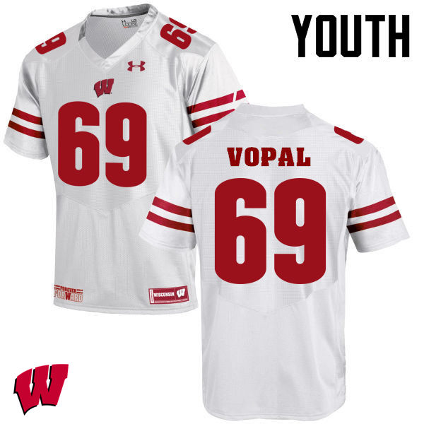 Youth Winsconsin Badgers #69 Aaron Vopal College Football Jerseys-White