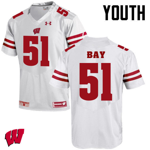 Youth Winsconsin Badgers #51 Adam Bay College Football Jerseys-White