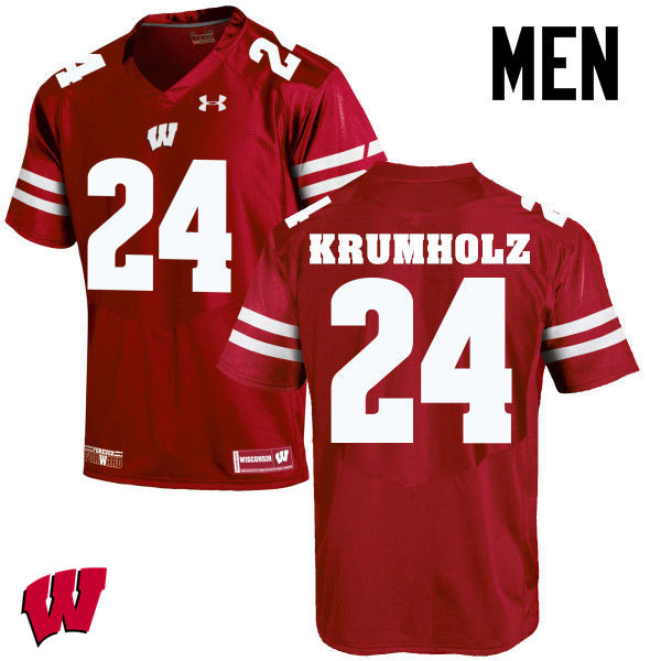 Men Wisconsin Badgers #24 Adam Krumholz College Football Jerseys-Red