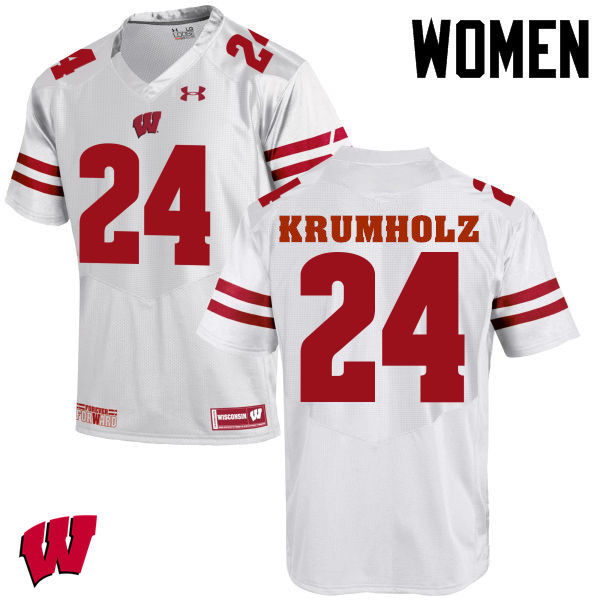 Women Wisconsin Badgers #24 Adam Krumholz College Football Jerseys-White
