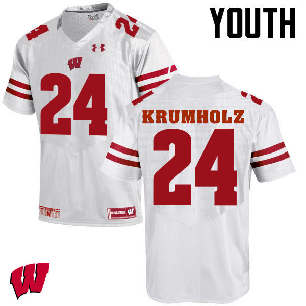 Youth Wisconsin Badgers #24 Adam Krumholz College Football Jerseys-White