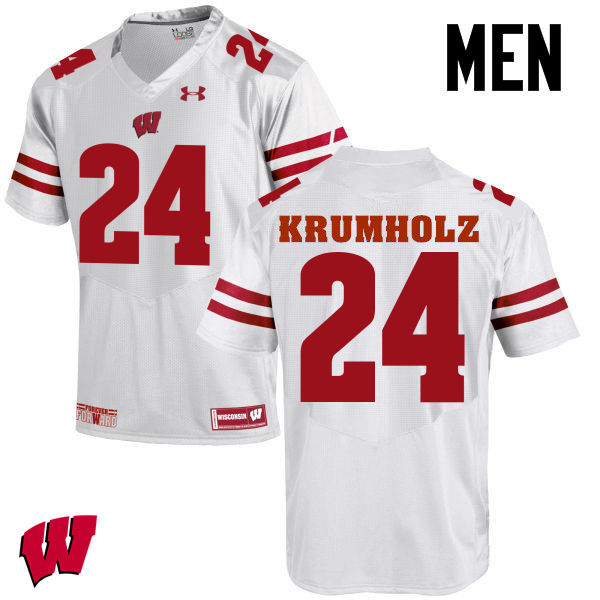 Men Wisconsin Badgers #24 Adam Krumholz College Football Jerseys-White